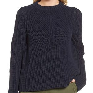 Nordstrom signature navy night raglan knit sweater